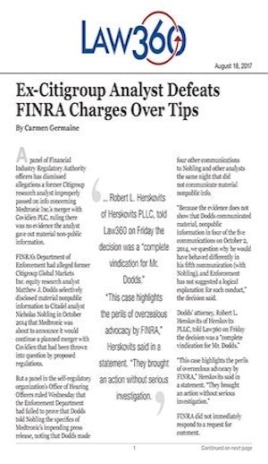 ex-citigroup analyst defeats FINRA charges