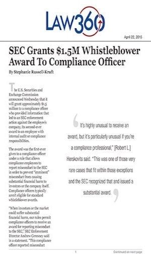 whistleblower award to compliance officer