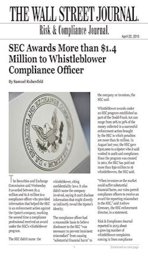 whistleblower compliance officer