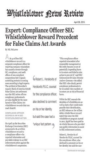 whistleblower reward precedent