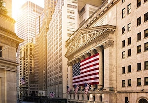 New York Stock Exchange with patriot flag